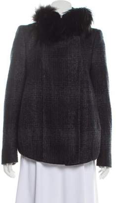 Prada Fur-Trimmed Virgin Wool Jacket
