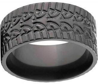 Ring Black ONLINE Custom Men's Tire Tread Zirconium Wedding Band with Comfort Fit Design