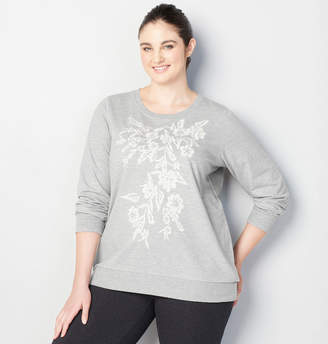 Avenue Embroidered Pearl Trim Sweatshirt