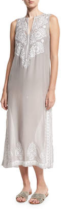 Marie France Van Damme Floral Sleeveless Embroidered Silk Chiffon Long Caftan Coverup, Silver