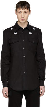 Givenchy Black Denim Stars Shirt