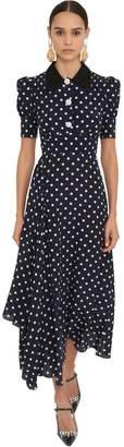 Polka Dot Silk Crepe Midi Dress