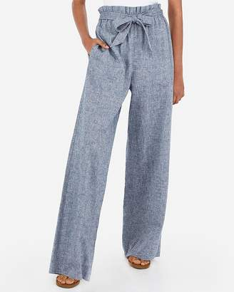 Express High Waisted Linen-Blend Sash Tie Wide Leg Pant