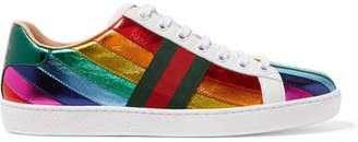 Gucci Ace Striped Metallic Leather Sneakers - Red