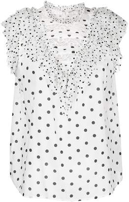 Ulla Johnson frilled sheer polka dot shell top