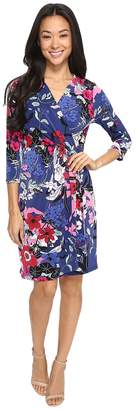 Adrianna Papell 3/4 Sleeve V-Neck Wrap Dress Women's Dress