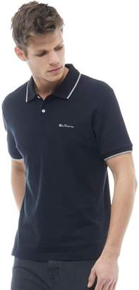 Ben Sherman Tipped Pique Polo Black