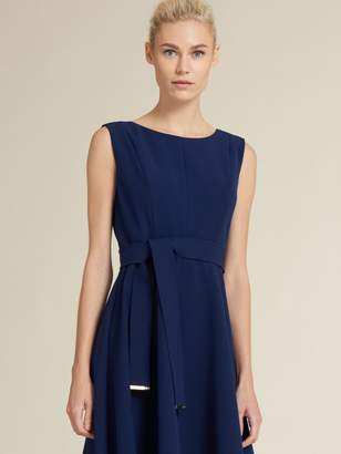 DKNY Belted A-Line Midi Dress