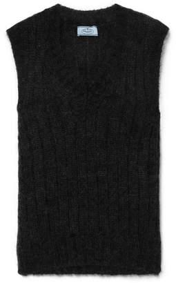 Prada Ribbed Mohair-blend Vest - Black