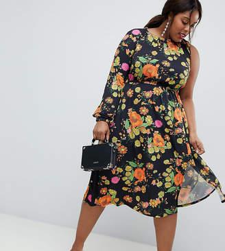 Asos Design Curve One Shoulder Balloon Sleeve Midi Dress In Floral Print