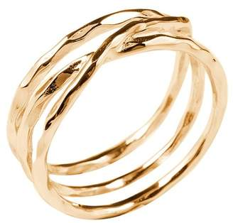 Sterling Forever 14K Gold Sterling Silver Textured Multi Band Ring