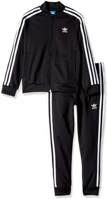 adidas Outerwear | Big Boys' Kids Superstar Track Suit, Top: Black/White Bottom: Black/White