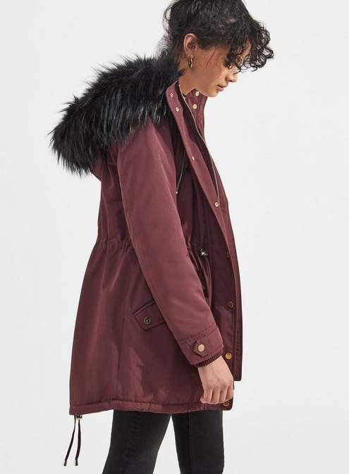 Burgundy faux fur lined luxe parka
