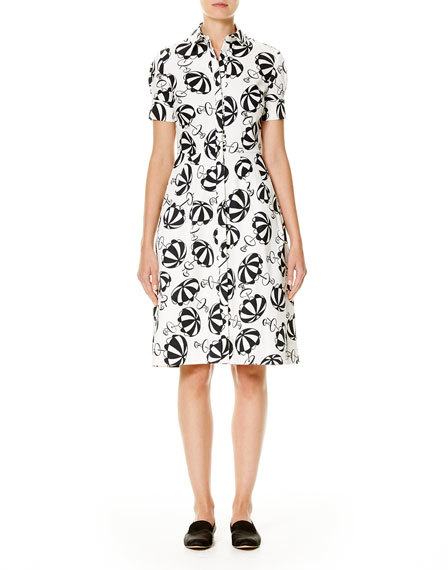 Carolina Herrera Carolina Herrera Umbrella-Print Short-Sleeve Shirtdress, Black/White