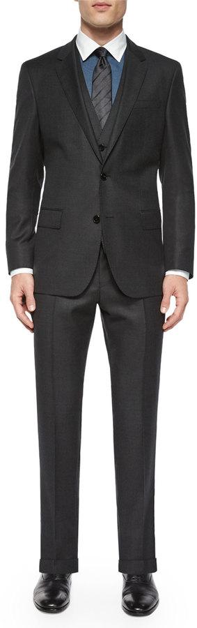 Hugo BossBoss Hugo Boss Birdseye Three-Piece Wool Suit, Gray