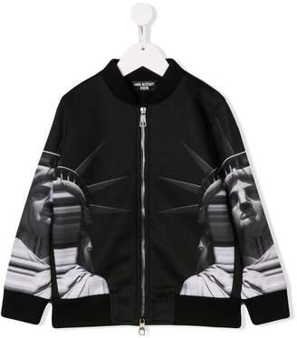 Neil Barrett Kids graphic print bomber jacket