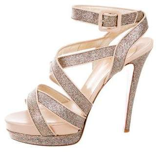 Christian Louboutin Glitter Ankle Strap Sandals