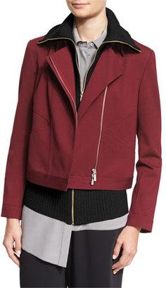 Magaschoni Ponte Moto Jacket w/ Angled Seams, Fig $368 thestylecure.com