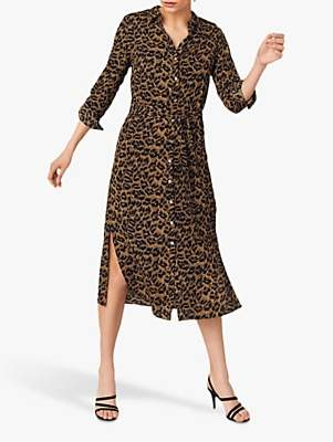 Oasis Leopard Midi Shirt Dress, Animal