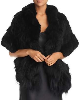 Maximilian Furs Ruffled Fox Fur Knit Stole