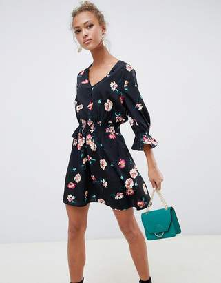 Influence v neck floral tea dress with gathered sleeve