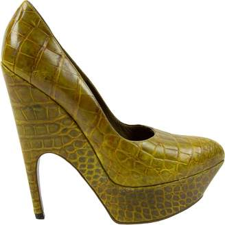 Saint Laurent Green Crocodile Heels