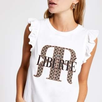 River Island Womens White RI frill sleeve T-shirt