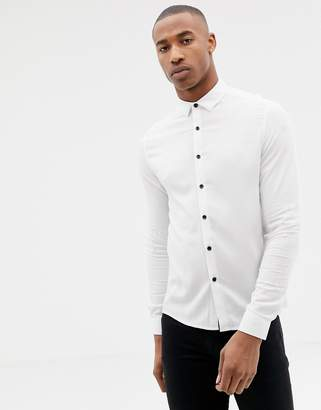 Asos Design DESIGN muscle viscose shirt in white