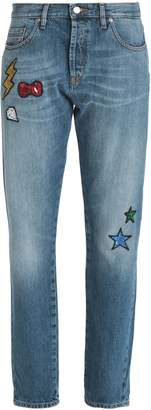 Love Moschino Appliqued Faded Mid-rise Straight-leg Jeans
