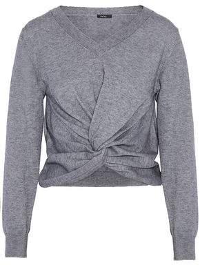 Raoul Woman Twist-front Cotton-blend Sweater Gray Size L Raoul Outlet Discount Authentic Free Shipping Sale Largest Supplier Enjoy Cheap Online P2jyKg0