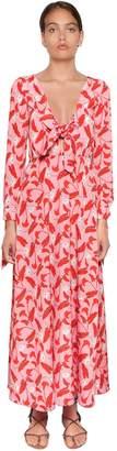 Calla Lily Print Long Sleeve Crepe Dress