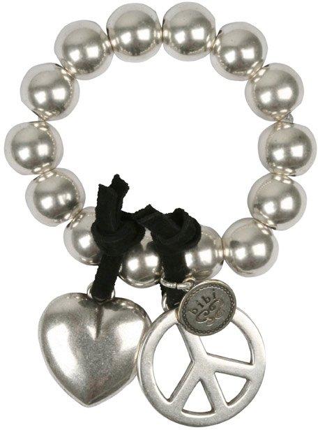 Bibi Peace and Heart Silver Bracelet