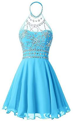 Red Carpet LL Bridal Junior's Halter A-line Beaded Prom&Homecoming Cocktail Dress Ball Gown 201 Mini