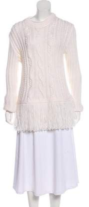 Tory Burch Cable-Knit Fringe-Accented Sweater w/ Tags