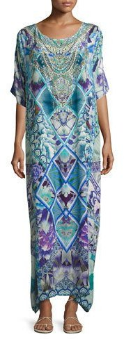 CamillaCamilla Round-Neck Maxi Caftan Silk Dress, Multi