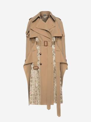 Alexander McQueen Trench Coat With Floral Jacquard Patchwork