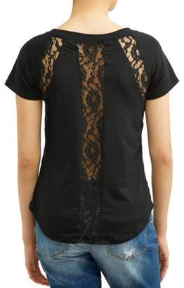 Poof! Juniors' Crochet Lace Trim Short Sleeve T-Shirt