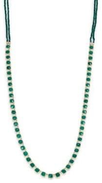 Ila Marley Green Onyx, Emerald, Diamond, Sterling Silver& 14K Yellow Gold Long Necklace