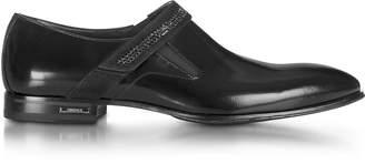 Loriblu Black Leather Loafer w/Suede Buckle Strap