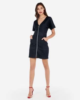 Express Zip Front Patch Pocket Denim Sheath Dress