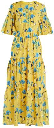 Borgo De Nor - Serena Iris Print Crepe Dress - Womens - Yellow Print