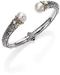 Konstantino Women's Hermione 15MM White Pearl, 18K Yellow Gold& Sterling Silver Cuff Bracelet