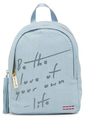 Peace Love World Love of Your Own Life Denim Backpack