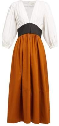 Isa Arfen Colour Block Panelled Cotton Dress - Womens - Multi