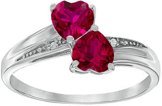 JCPenney FINE JEWELRY Lab-Created Ruby and Diamond-Accent Sterling Silver Double-Heart Ring