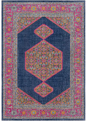 Mistana Fredonia Hexagonal Blue/Pink Area Rug