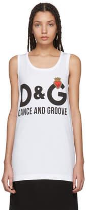 Dolce & Gabbana White Logo and Heart Tank Top