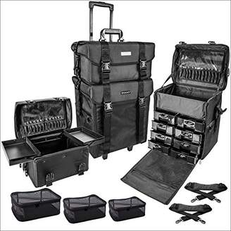 SHANY Cosmetics 2 Compartment Soft Black Rolling Trolley Makeup Case with Free 3 Piece Organizer Mesh Bags