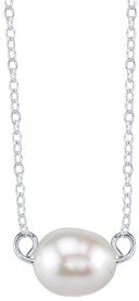 """Unwritten Bridesmaid Collection Freshwater Pearl Station Necklace in Sterling Silver, Rose Gold or Yellow Gold, 16"""" + 2"""" Chain, 8mm Pearl"""