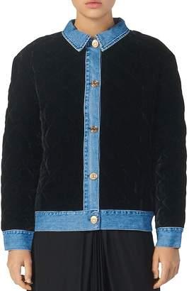 Sandro Velvet Jacket with Denim Trim